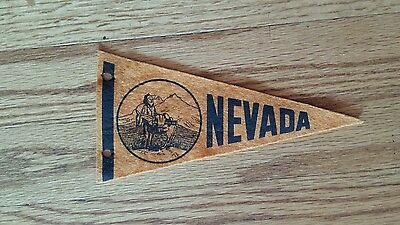 "VINTAGE 1960s STATE OF NEVADA 7-1/2"" PENNANT OLD TRAVEL SOUVENIR GOLD PROSPECTOR"