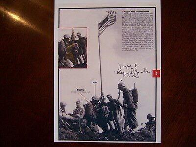 Iwo Jima Raymond Jacobs Flag Raising WWII SIGNED 6x8 PHOTO