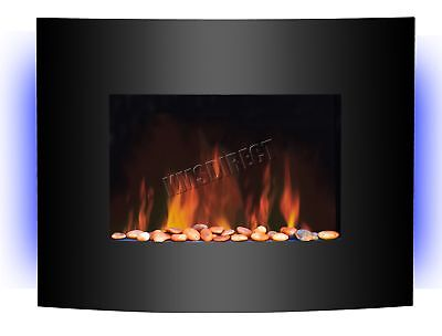 Wall Mounted Electric Fireplace Glass Heater Remote Control LED Backlit 1.8KW