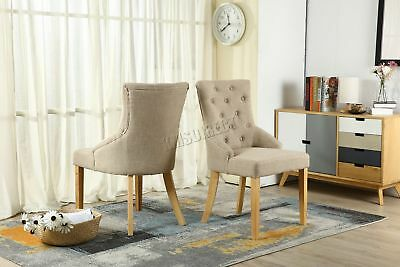 FoxHunter New Cream Linen Fabric Dining Chairs Scoop Button Back Office DCF03 x2