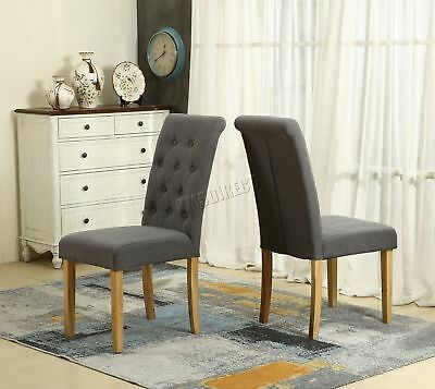 FoxHunter Grey Linen Fabric Dining Chairs Scroll High Back Office Room DCF02 x2