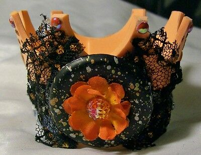 CROWN HAT for Small Dog Cat king queen princess prince ORANGE FLOWER BLACK LACE