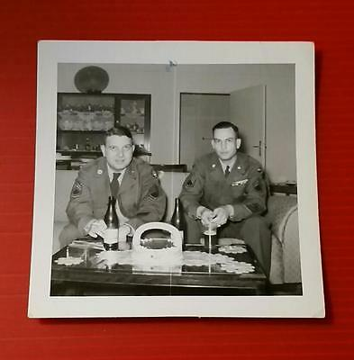 """RARE VINTAGE BLACK & WHITE 1930-40's PHOTO """"TWO US SOLDIERS DRINKING BEER"""""""