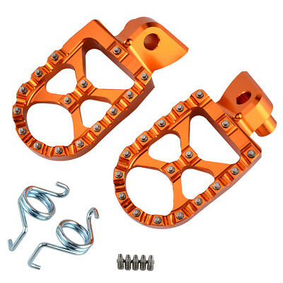 57Mm Orange Motocross Mx Wide Foot Pegs Footrests Anodized Ktm 98-15 Sx Smr Exc