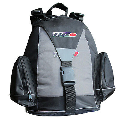 Tuzo Motorcycle Rider Rucksack Black Grey With Helmet Carrier 22 Litre
