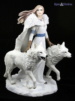 "Anne Stokes Statue: ""Winter Guardian"" Woman with Wolves"