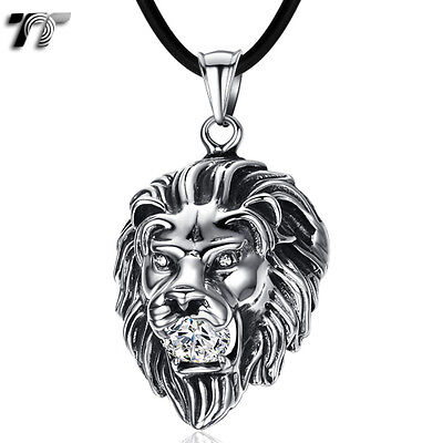 High Quality TT Stainless Steel 3D Lion Pendant Necklace Clear CZ (NP148S) NEW