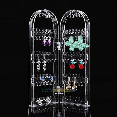 Plastic Clear Jewellery Necklace Earring Display Stand Holder Folded Show Rack#L