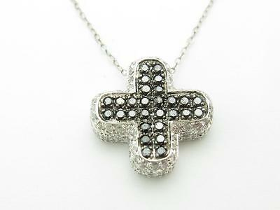 14k Solid White Gold Genuine Black White Diamond Vintage Design Cross Necklace