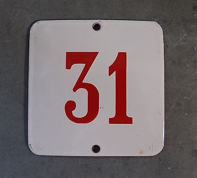 ANTIQUE VINTAGE FRENCH ENAMEL PORCELAIN DOOR HOUSE NUMBER SIGN 3.54 inches N° 31