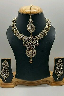 New beautiful Indian bollywood necklace set costume jewellery maroon and gold