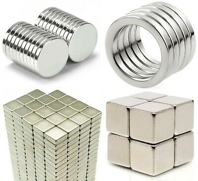 10 x VARIOUS SIZES of N35 Neodymium Magnets ~ Strong, Quality ROUND DISCS Rings