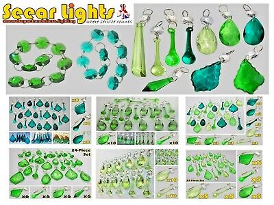 Chandelier Green Cut Glass Crystals Drops Beads Droplets Light Lamp Parts Retro