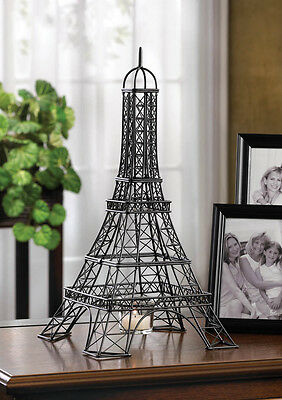 """large Black French wire Paris Eiffel tower 16"""" tall statue model Candle Holder"""