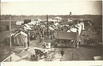 VINTAGE 1910'S BLACK & WHITE PHOTO OF CARNIVAL OR FAIR IN TOWN AREA IN CALIF