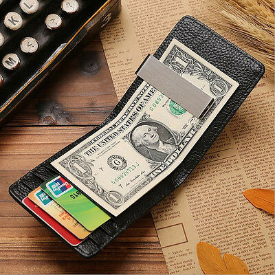 New Men Cow Leather Short Credit Cards Holder Wallet Horizontal Style Money Clip
