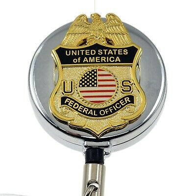 US Federal Officer Mini Badge Security Retractable Badge Reel ID Holder Chrome