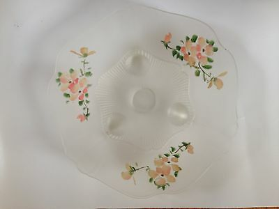 """Vintage Frosted White Depression Glass 3-Footed Bowl w Hand Painted Flowers 10"""""""