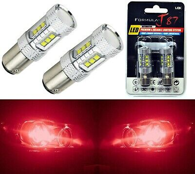 LED Light 80W BAY15d 2057 Red Two Bulbs Turn Signal Parking Brake Tail Stop