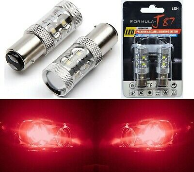 LED Light 50W BAY15d 2357 Red Two Bulbs Turn Signal Parking Brake Tail Stop