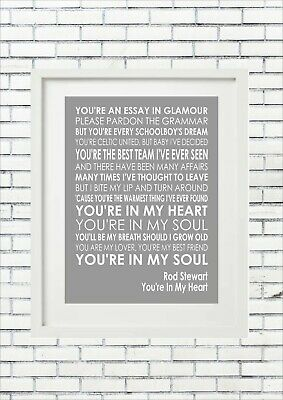 Rod Stewart - You're In My Heart - Word Wall Art Typography Song Lyrics Lyric