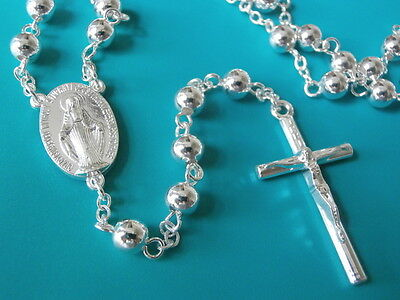 Silver Plated Rosary Beads Long Necklace Communion FREE Booklet Catholic Gift