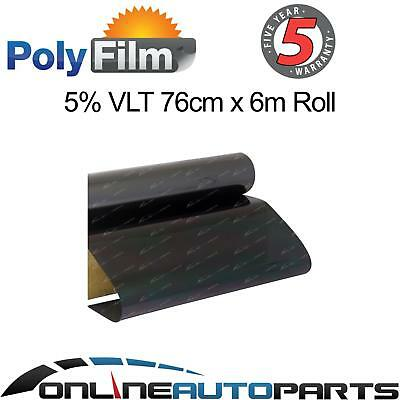 Window Tint Film 5% Very Dark Black Metalized 76cm x6m Car Auto Home Office Roll