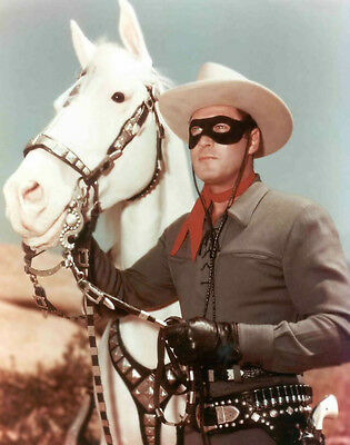 CLAYTON MOORE THE LONE RANGER AND SILVER RARE 8x10 PHOTO