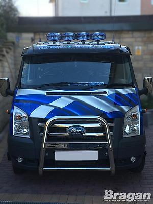 Ford Transit 2007-2014 Low Flat Roof S/S Front Roof Light Bar + LEDS + Spots