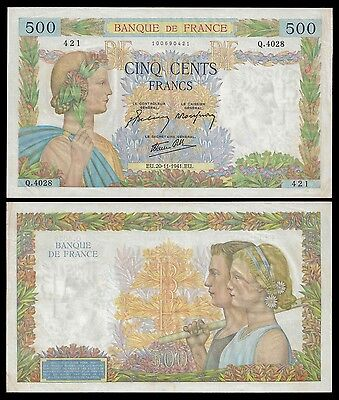 France 500 Francs LA PAIX 20.11.1941 P 95b VF