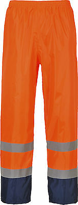 HI VIS WATERPROOF TROUSERS CONTRAST RAIN WORK PANTS ORANGE/YELLOW H444  Size