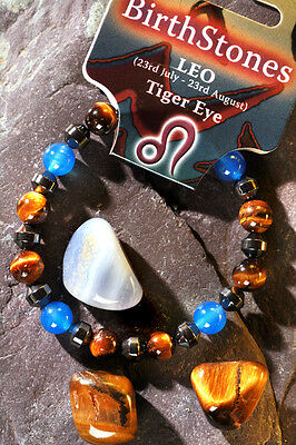 'LEO' Gemstone 'Power Bracelet' plus a free guide book & bookmark.