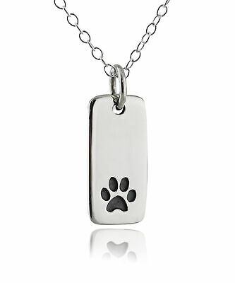Paw Print Tag Charm Necklace - 925 Sterling Silver - Dog Cat Pet Animal Pendant