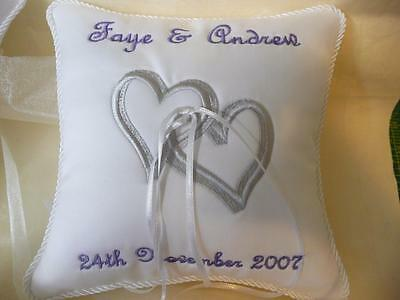 Personalised Wedding Ring Pillow - White Satin - Intertwined Hearts
