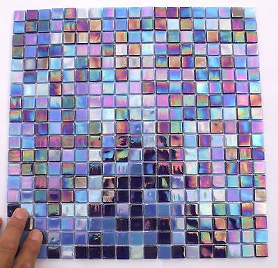 "Glass Mosaic Tiles ""Mer Et Ciel"" blue mix sheet, iridescent"