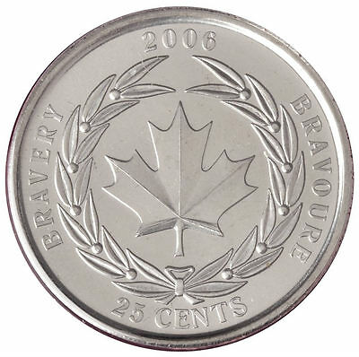 2006 25C Bravery Canada 25 Cents - BU from Mint roll