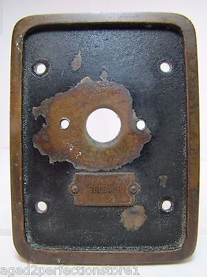 Old EMERGENCY RELEASE No 4 Mount Plate architectural button switch bronze brass