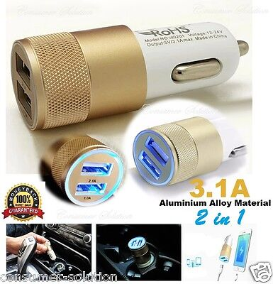 3.1A Dual USB Car Charger  Whit Alloy 2 Port Universal Charging For Samsung S4