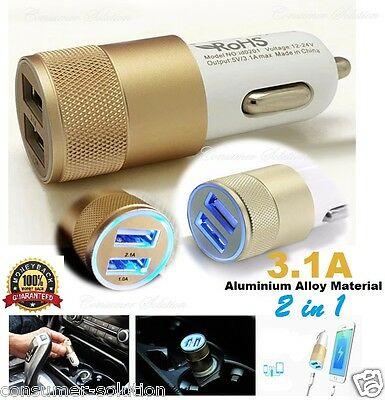 3.1A Dual USB Car Charger  Whit Alloy 2 Port Universal Charging For Samsung S5