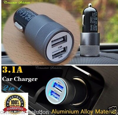 3.1A Dual USB Car Charger Alloy 2 Port Universal Fast Charging For Ipone 5S 5C