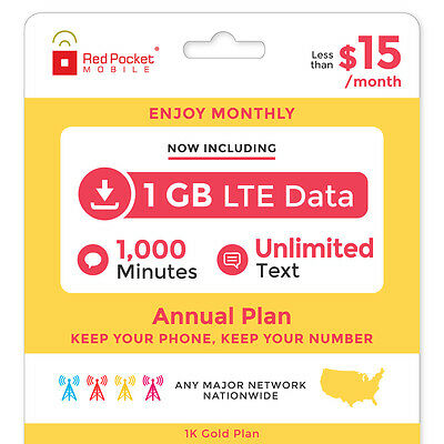 Red Pocket 1 Year Prepaid Wireless GOLD Plan - No Contract, SIM Kit Included
