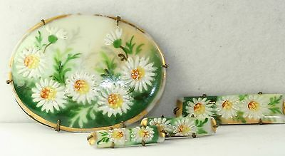 Rare Victorian Antique Matching 4 Piece Set Painted Dasy Flower Porcelain Pins