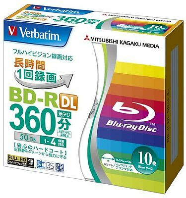 10 Verbatim Blu ray Disc Dual Layer BD-R DL 50GB 4x Inkjet Printable Bluray