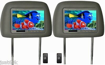"2017 Pair 7"" Car Headrest Pillow Lcd Monitors Screens  Gray Tan Color Free Ship!"