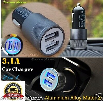 3.1A Dual USB Car Charger Alloy 2 Port Universal Charging For Samsung Galaxy S5