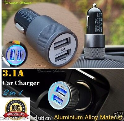 3.1A Dual USB Car Charger Alloy 2 Port Universal Charging For Samsung Note 3