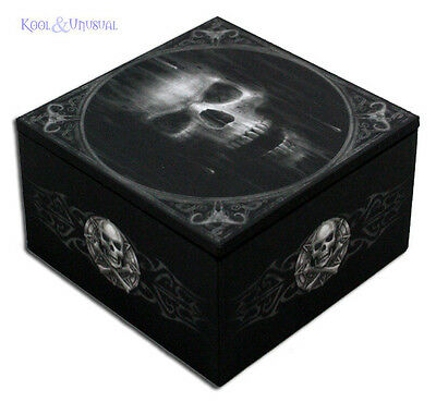 "Anne Stokes Trinket Jewellery Box with Mirror: ""The Watcher"" Black Gothic Skull"