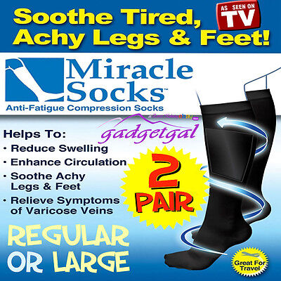 2 Pair MIRACLE SOCKS Compression for Aching Feet, Varicose Veins, Flight, Travel