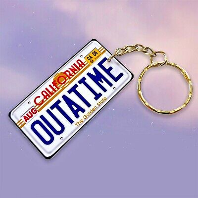 Back to the Future Outatime License / Number Plate Cool Fun Keyring / Key Ring