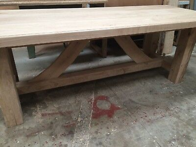 Solid Oak Table, Air Dried, Rustic, Beautiful With Kiln Dried Oak Top